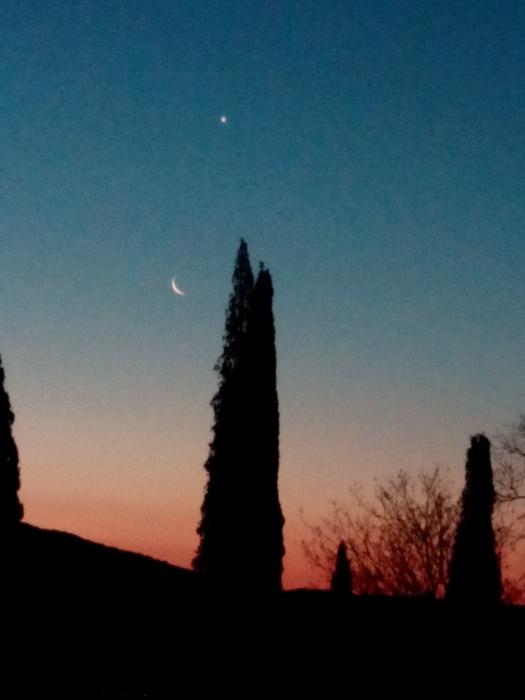 pink sky-moon